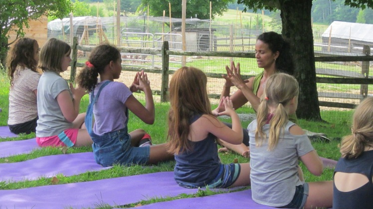 Kids yoga at Meadows Bee Farm
