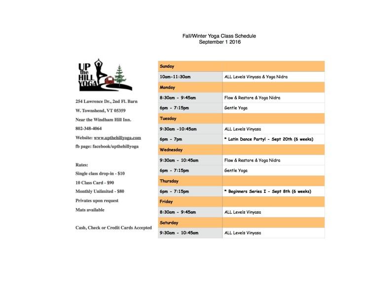 Fall-Winter Yoga Class Schedule